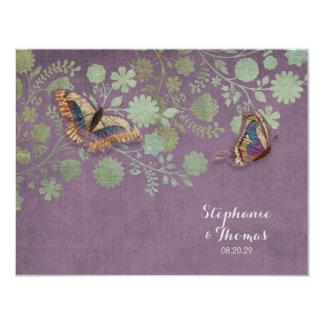 Watercolor Butterflies w Modern Floral Pattern Custom Invitations