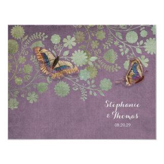 Watercolor Butterflies w Modern Floral Pattern Personalized Invitations