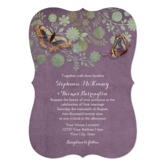 Watercolor Butterflies w Modern Floral Pattern Invitations