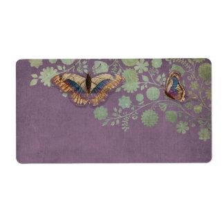 Watercolor Butterflies w Modern Floral Pattern Shipping Label