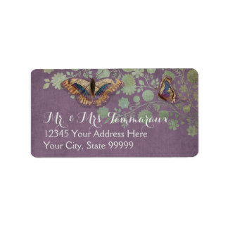 Watercolor Butterflies w Modern Floral Pattern Personalized Address Label