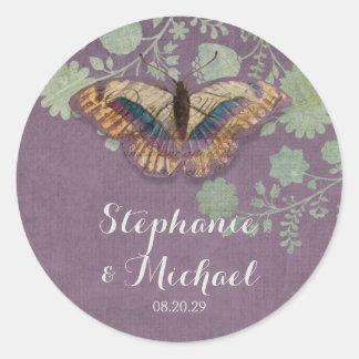 Watercolor Butterflies w Modern Floral Pattern Sticker