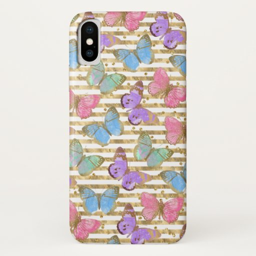 Watercolor Butterflies With Gold iPhone XS Case