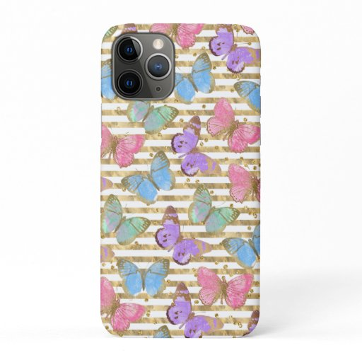 Watercolor Butterflies With Gold iPhone 11 Pro Case
