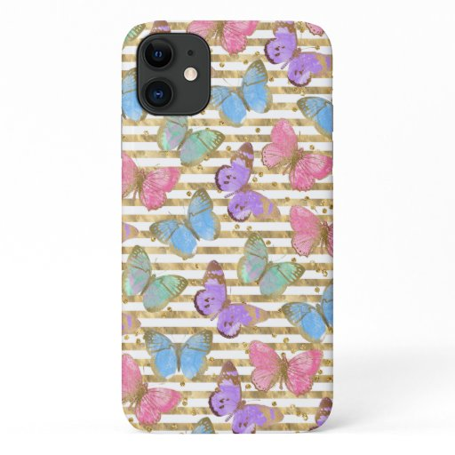 Watercolor Butterflies With Gold iPhone 11 Case