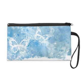 Watercolor butterflies wristlet purse
