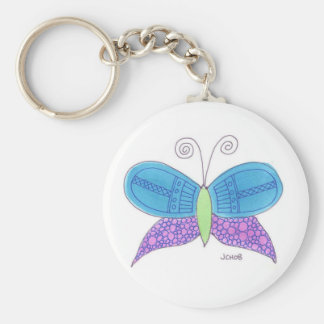 Watercolor Butterfly Basic Round Button Keychain