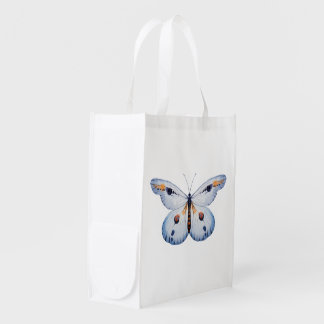 Watercolor BUTTERFLY blue orange + your ideas Reusable Grocery Bag