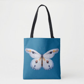 Watercolor BUTTERFLY blue orange + your ideas Tote Bag