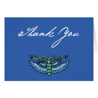 Watercolor Butterfly (blue/script on blue) Greeting Card