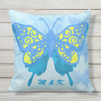 Watercolor Butterfly Blue Yellow Vintage Handpaint Outdoor Pillow