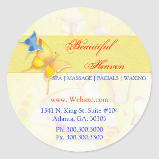 Watercolor Butterfly Business Address Labels Classic Round Sticker
