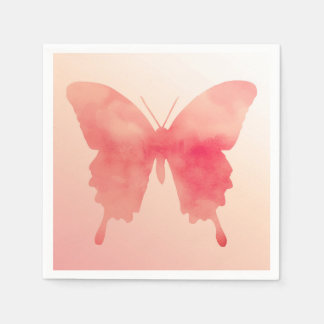 Watercolor Butterfly - Coral and Peach Napkin