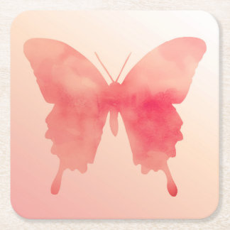 Watercolor Butterfly - Coral and Peach Square Paper Coaster