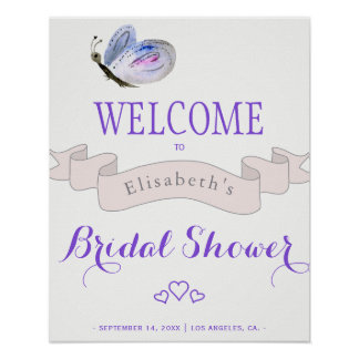 Watercolor  butterfly french bridal shower welcome poster