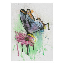 Watercolor butterfly on pink daisy flower poster