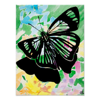 Watercolor Butterfly Painting Poster (Green)