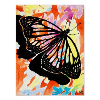 Watercolor Butterfly Painting Poster (Orange)