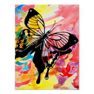 Watercolor Butterfly Painting Poster (red)