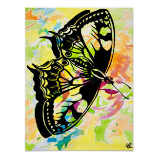 Watercolor Butterfly Painting Poster (Yellow)