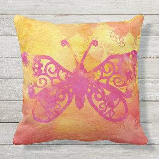 Watercolor Butterfly Pink Orange Yellow Handpaint Outdoor Pillow
