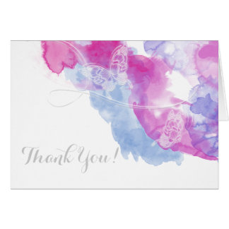 Watercolor Butterfly Raspberry Bliss Thank You Card