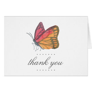 Watercolor Butterfly Red Thank You Card