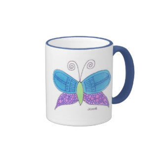 Watercolor Butterfly Ringer Coffee Mug