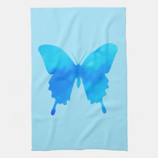 Watercolor Butterfly - Shades of Sky Blue Kitchen Towel