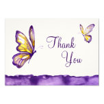 Watercolor Butterfly Thank You Cards Purple Yellow
