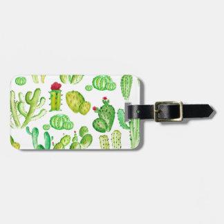 Watercolor Cacti Bag Tag