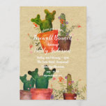 """Watercolor CACTI Farewell Party Rustic Invitations<br><div class=""""desc"""">This item can be used for many occasions, edit as desired. __________________________________________________________________________ 1. If you require assistance, matching items or custom design contact Designer LeahG via the tab below. __________________________________________________________________________ 2. At no extra cost Leah may add co-ordinating items to this store as are available via Zazzle as per your...</div>"""