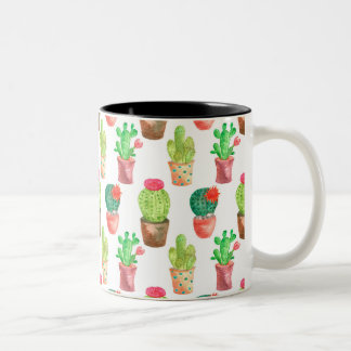 Watercolor Cactuces Pattern Two-Tone Coffee Mug