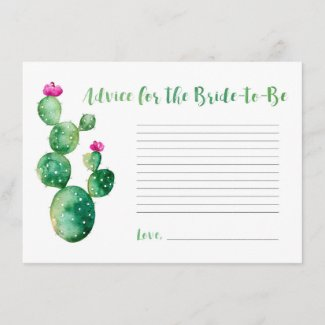 Watercolor Cactus Advice for Bride to Be Card