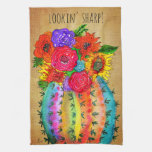 Watercolor Cactus and Flowers Kitchen Towel