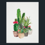 "Watercolor Cactus and Succulents Poster<br><div class=""desc"">This watercolor Cactus and Succulent art print looks vibrant and sophisticated.  Personalize it by making the image smaller and adding your own text.</div>"