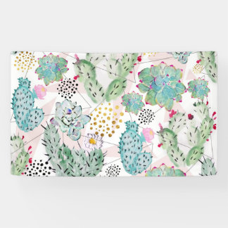 watercolor cactus and triangles pattern banner
