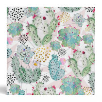 watercolor cactus and triangles pattern binder