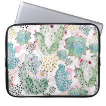 watercolor cactus and triangles pattern computer sleeve