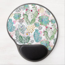 watercolor cactus and triangles pattern gel mouse pad