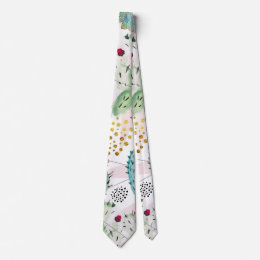 watercolor cactus and triangles pattern neck tie