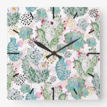 watercolor cactus and triangles pattern square wall clock