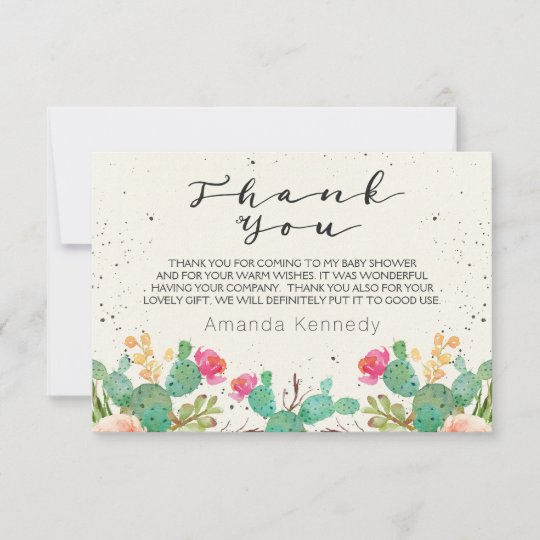 watercolor cactus baby shower thank you card  zazzle