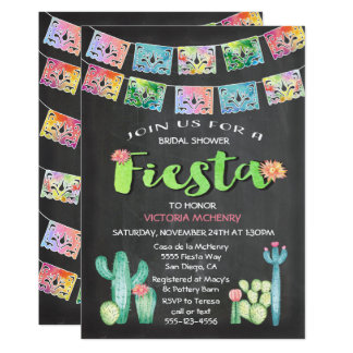 Watercolor Cactus Bridal Shower Mexican Fiesta Card