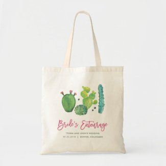 Watercolor Cactus Bride's Entourage Bag