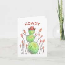 Watercolor Cactus Cowboy Card