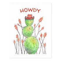 Watercolor Cactus Cowboy Postcard