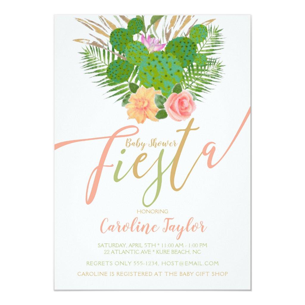 Watercolor Cactus Fiesta Baby Shower Floral Invitation
