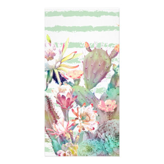 Watercolor cactus, floral and stripes design card
