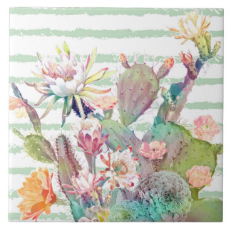 Watercolor cactus, floral and stripes design ceramic tile